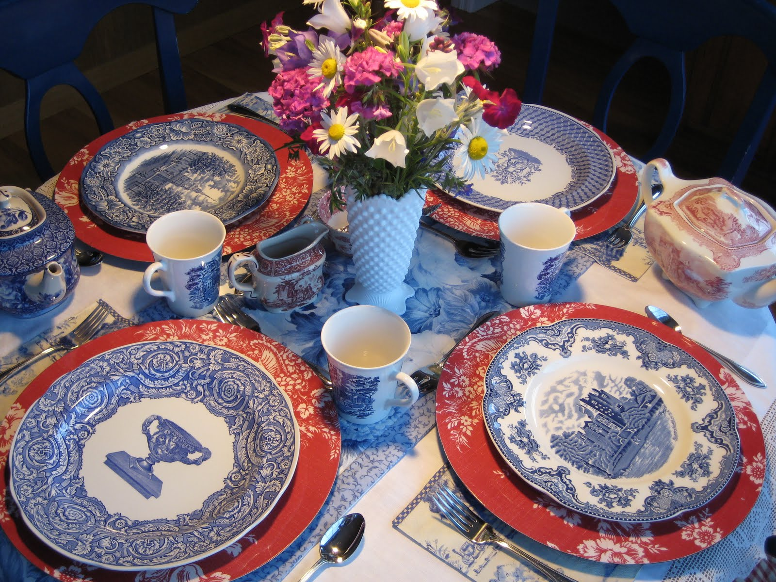 Blue toile plates include two Spode Johnson Bros. Old Britain Castles and Liberty Blue and Liberty Blue mugs (I was fortunate to inherit a complete set of ... & saltbox treasures: Red White and Blue Toile Tea Party