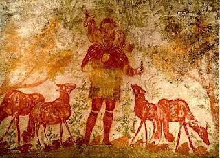 Imagen del Buen Pastor, de las catacumbas de los primeros cristianos