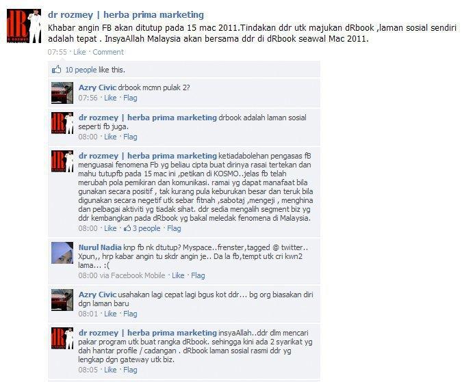 Dr Rozmey nak buat dRBook Sebagai Peganti Facebook ?