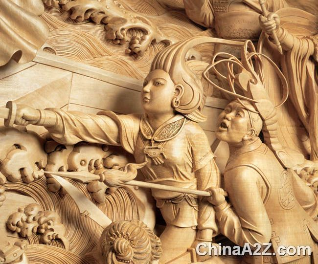 Country together with beijing wood carving and jiangsu wood carving