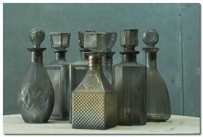 fire scorched glass vintage decanters