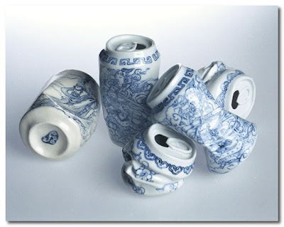 Ceramic Crushed Cans by lei xue