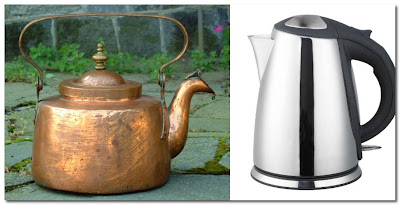 old and new kettles