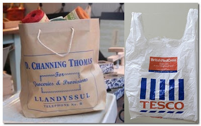 old and new carrier bags