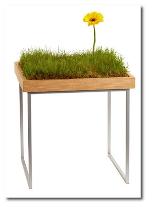 table with grass