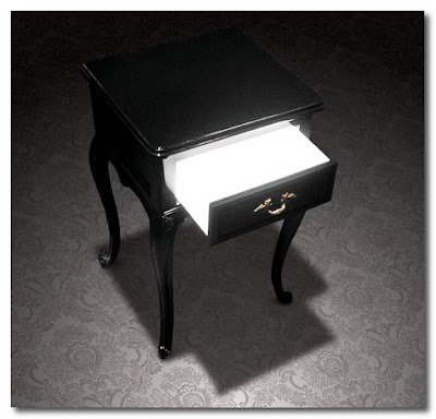 bedside table with light in drawer