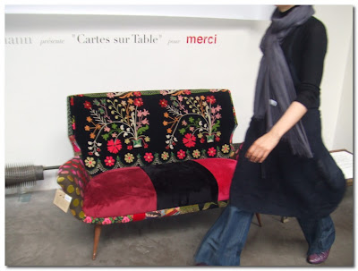 stylish sofa and woman merci paris