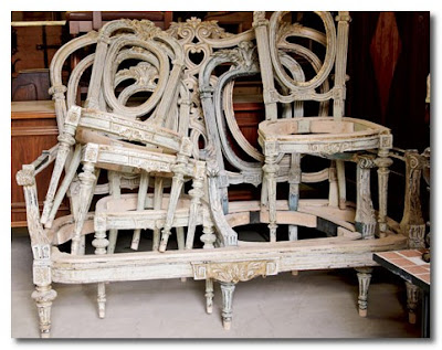 antique stacked chairs