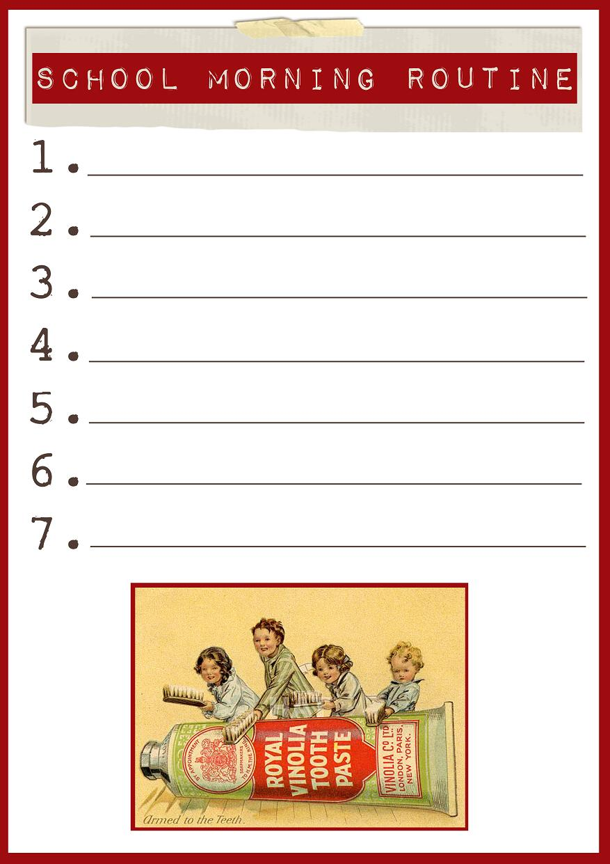 Blank Daily Routine Chart School morning routine chart