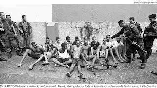 Reprodução de foto de O Globo com presos detidos