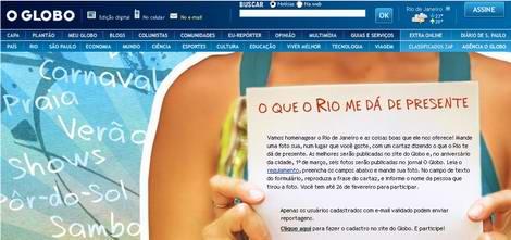 Imagem da página de promoção de O Globo