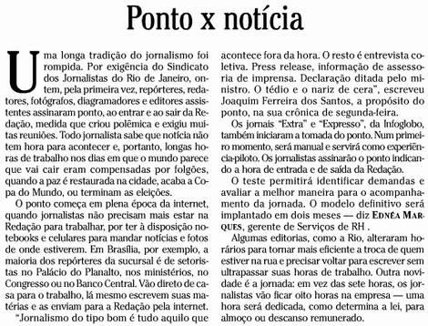 O Globo reclama de jornalistas terem de bater ponto