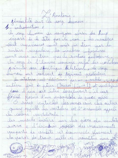 Un terrible français cassé sur un cours d'anatomie!