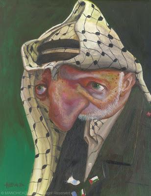 caricatura do politico Yasser Arafat