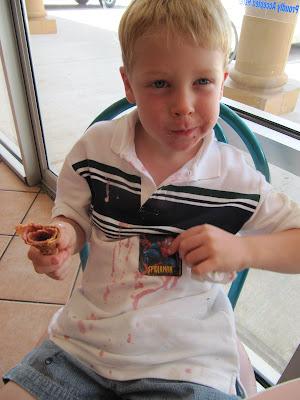 boy with ice cream on shirt