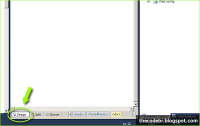 Alterando para o modo design no Visual Studio