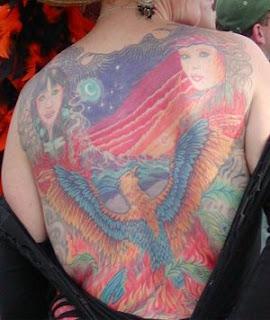 Native american tattoo on back body