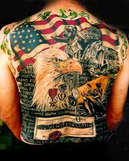 American tattoo on back body male