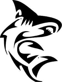 tribal shark tattoo art