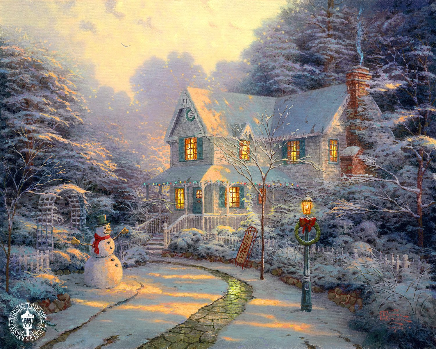 He has paintings of all different scenes. The nice cozy winter scenes: