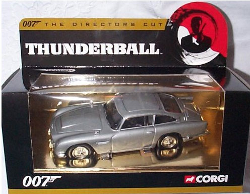 Detailed diecast model of the Aston Martin DB5 driven by Bond in the 1965