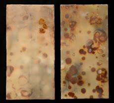 Sun Spots Solar Minimum/Solar Maximum, Encaustic and Ink on Hosho paper on panel, 16 x 8 inches eac