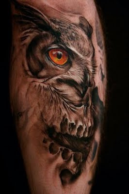 Great Horned Owl Black And Grey Tattoo Realistic Owl T...