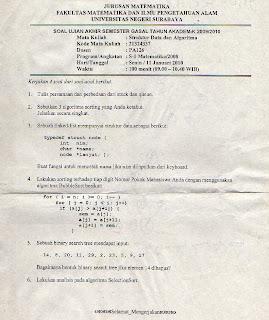 soal ujian akhir semester struktur data dan algoritma 2006