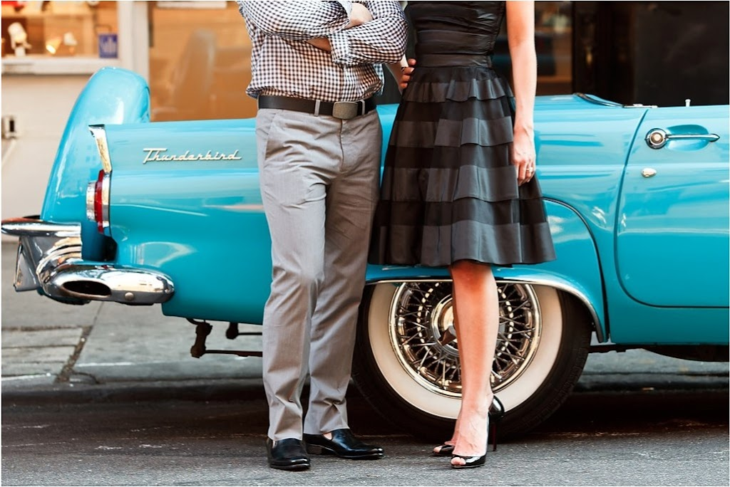 brian dorsey new york engagement session soho vintage thunderbird blue merci new york