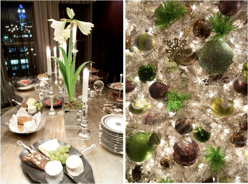 white amaryllis and mercury glass holiday tablescape at colin cowie's apartment