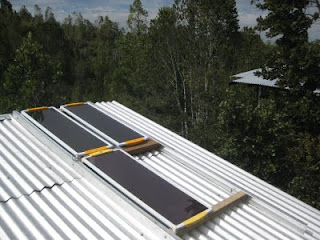The three Sunsei panels installed in series on the roof