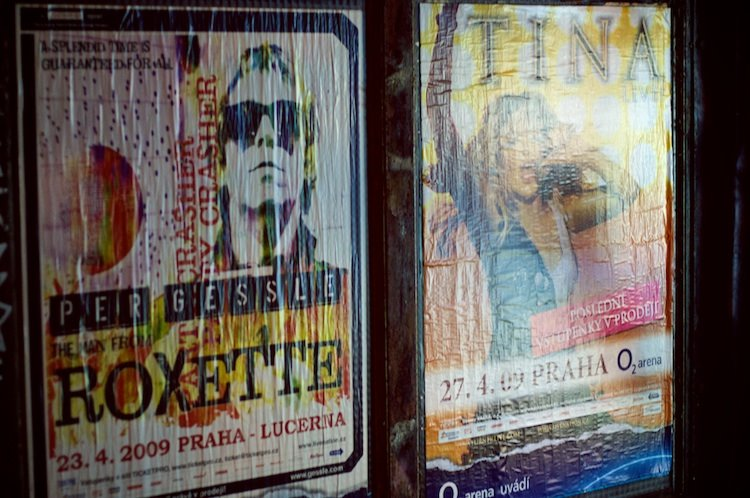 Roxette and Tina posters for their Prague concerts