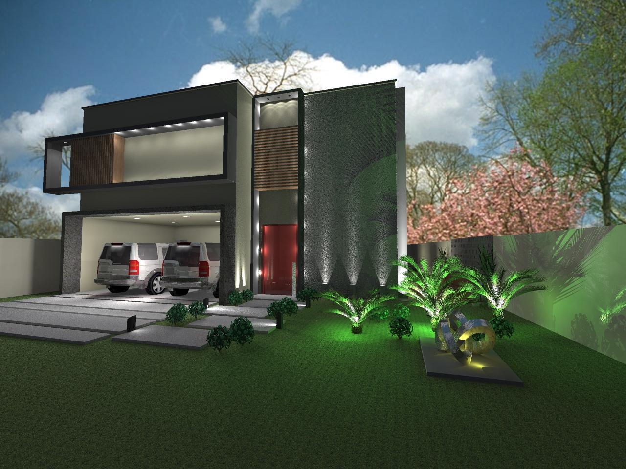 Fachada de casa contemporanea con aplicaciones de piedra for Casa contemporanea