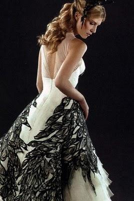 Cream colored ponies crisp rhubarb strudels november for Fleur delacour wedding dress