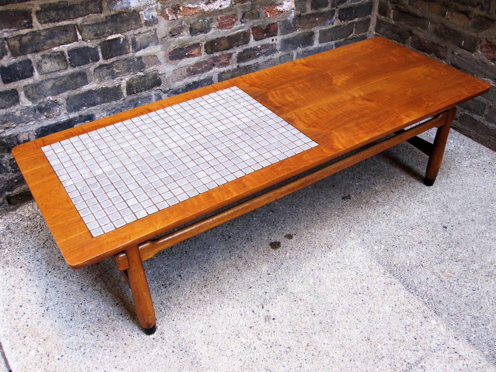 circa midcentury lane walnut tile coffee table