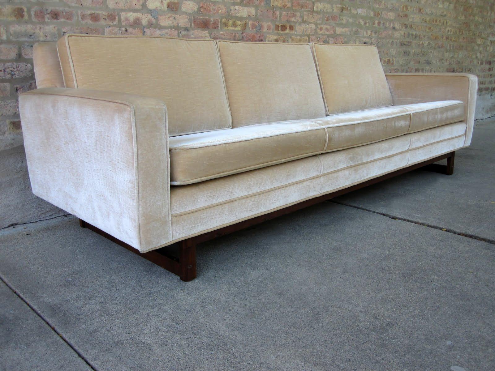 Circa Midcentury Danish Modern Velour Sofa