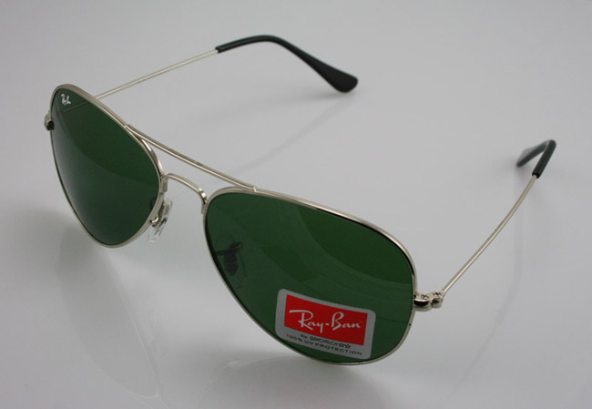 Ray Ban Silver Frame Glasses : RayBan4You: Ray Ban 3025 Aviator Silver Frame Green Lens