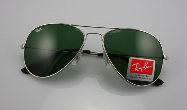 ray ban aviator silver 1fje  Ray Ban 3025 Aviator Silver Frame Green Lens Model: 3025 Aviator