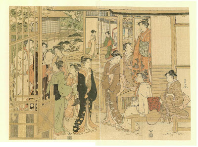 A Group of Beauties Playing By Shuncho Katsukawa