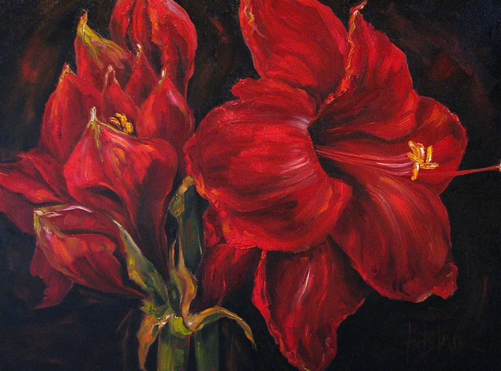 Kim blair amaryllis floral painting bolero red by for Dark red paintings