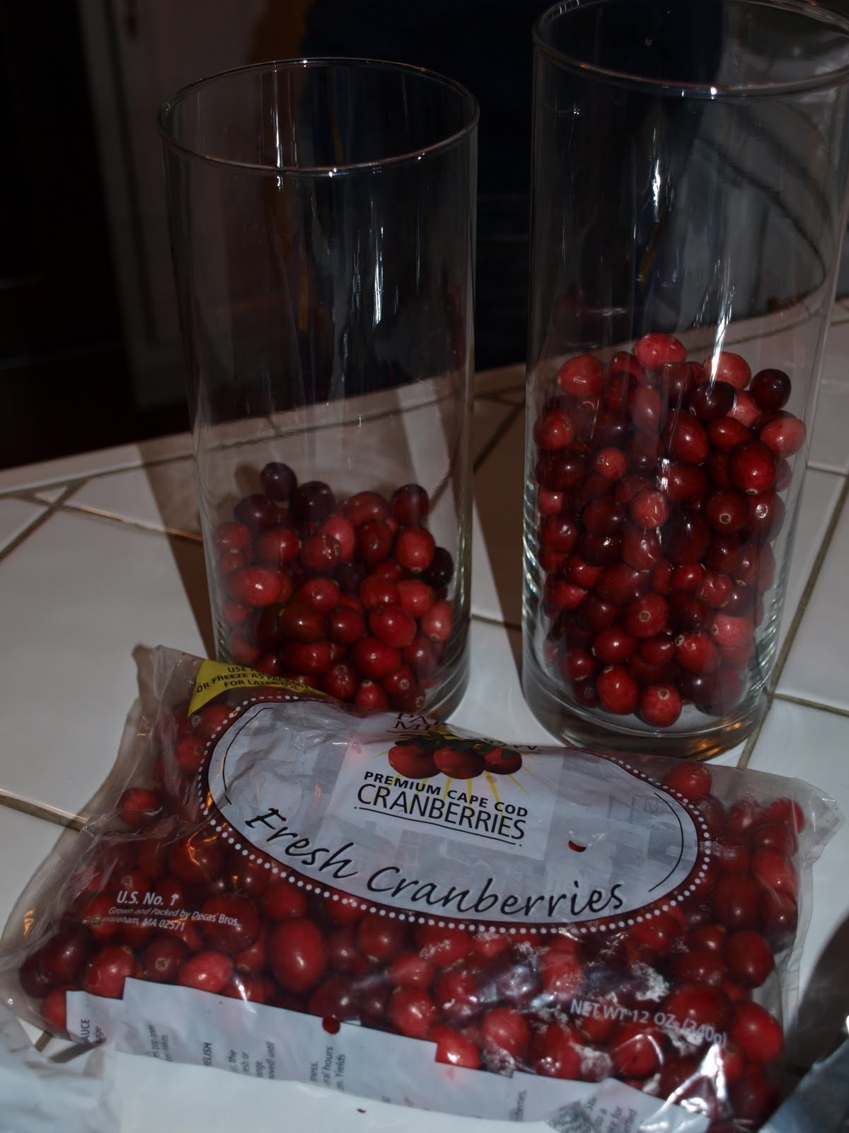 Cranberry Glass Vases with Decorations