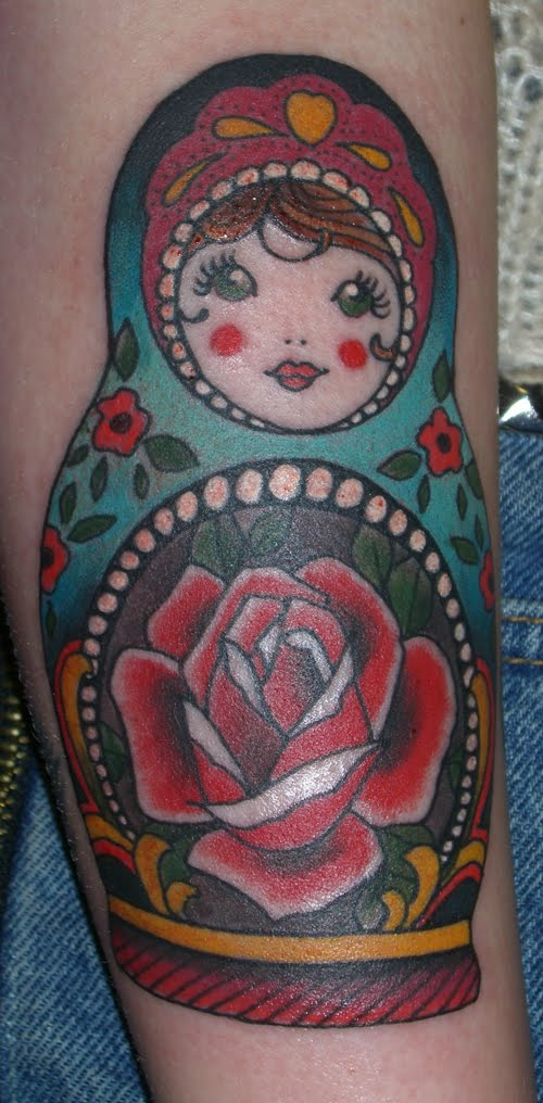 heres a little russian doll i tattooed in a sort of wierd position on the