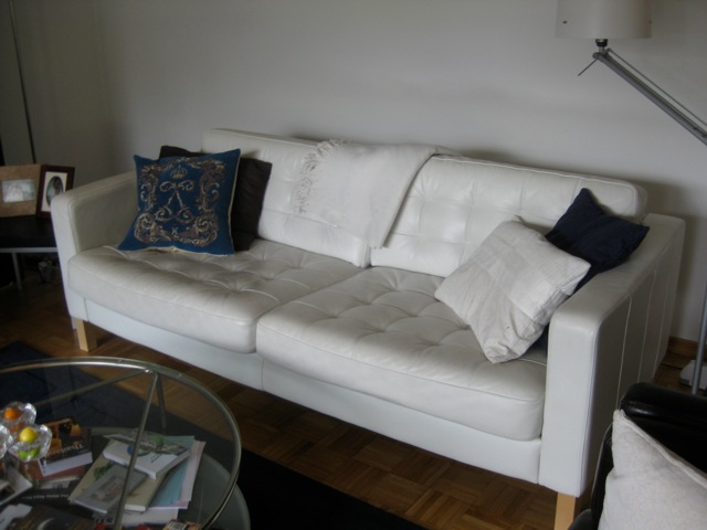 Item: White Leather Couch, Ikea Name: Karlstad Originally Purchased For ∍  899. Yours For ∍399