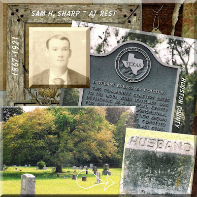 Location of the grave of Sam H. Sharp in the Lovelady Cemetery in Houston County, Texas