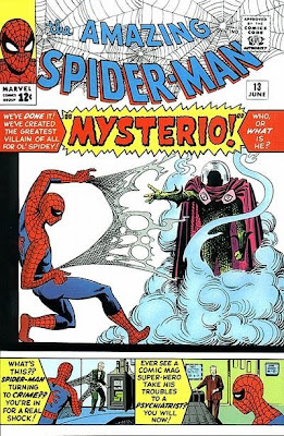 Amazing Spider-Man #13, unlucky for some, Mysterio makes his first appearance, in a cloud of smoke, and threatens a recoiling Spider-Man
