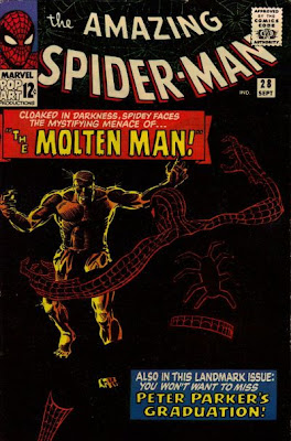 Classic Steve Ditko cover, Amazing Spider-Man #28, Spidey, in the dark, confronts the Molten Man who is making his first appearance