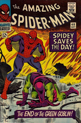 Amazing Spider-Man #40, Spidey stands over the defeated Green Goblin, flames all around them, the origin of the Green Goblin, John Romita  cover