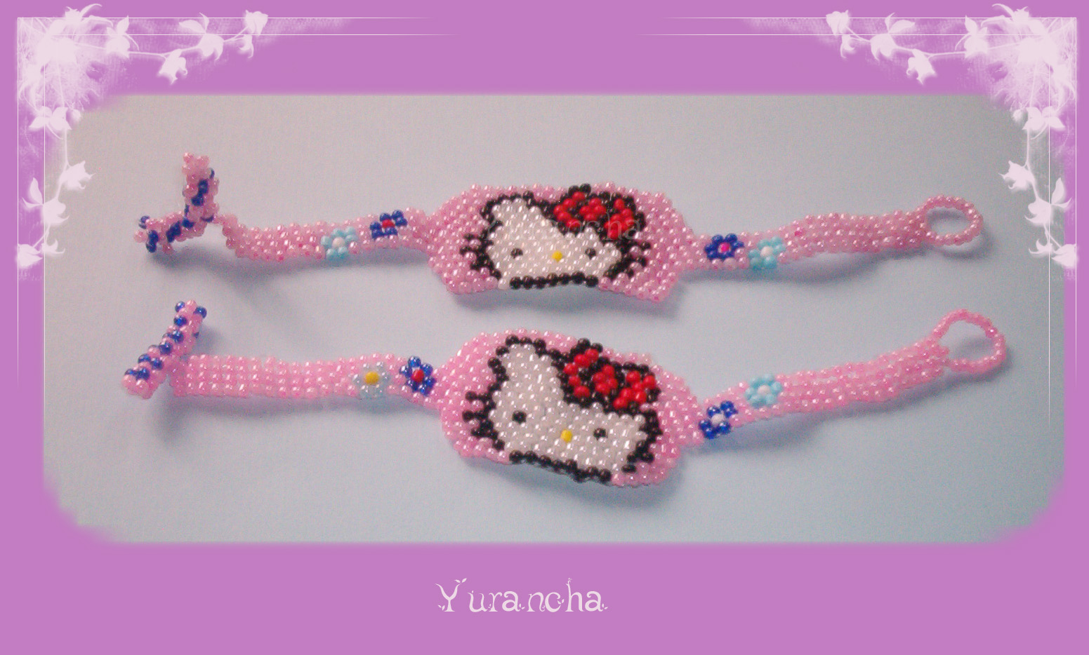 Pulseras Hello Kitty Con Tecnica Peyote