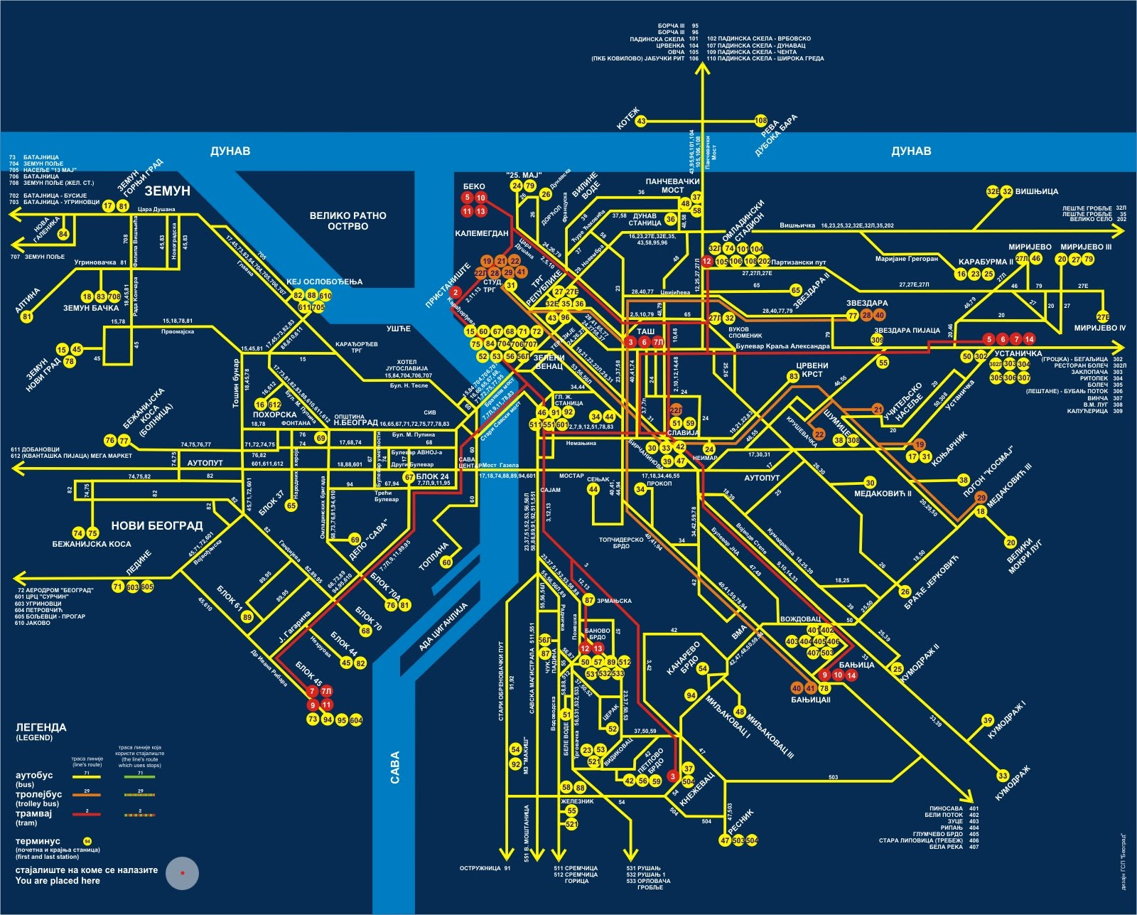 Карта автобусов Белграда: