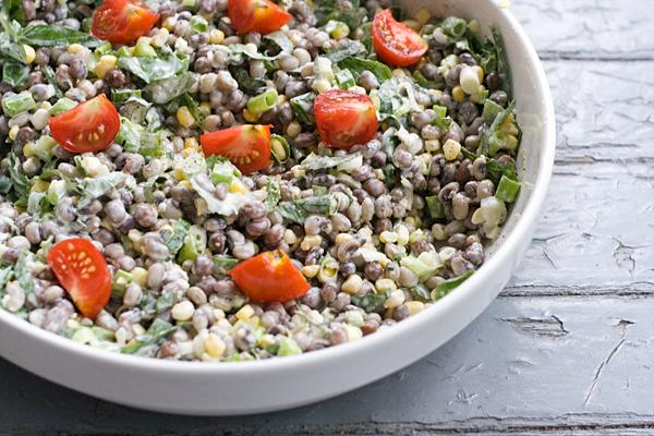 : Farmers Market Salad: Fresh Field Peas & Corn with Basil, Scallions ...
